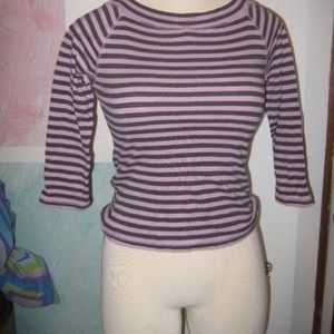 GAP Tops - Gray Lilac Purple Stripe 3/4 Sleeve Stretch Top S